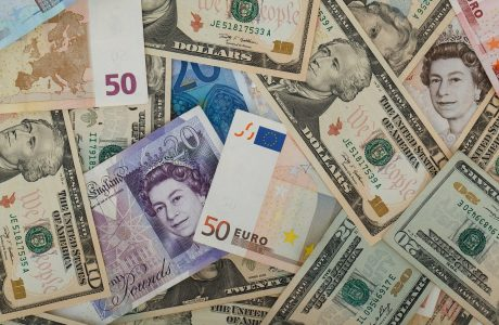 Dollars, euros and pounds cash